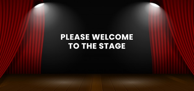 Please welcome to the stage. open red theater stage curtain backdrop. Premium Vector