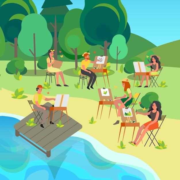 Пленэр. люди рисуют на открытом воздухе. молодой художник на пленэре сидит у мольберта с цветовой палитрой и кистью. счастливый художник рисует снаружи. Premium векторы