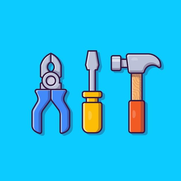 Плоскогубцы, молоток и отвертка мультфильм значок иллюстрации. инструменты объект значок концепции изолированы. плоский мультяшном стиле Бесплатные векторы