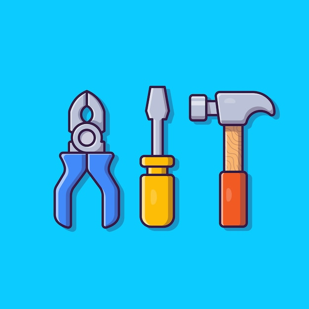 Pliers, hammer and screwdriver cartoon icon illustration. tools object icon concept isolated . flat cartoon style Free Vector
