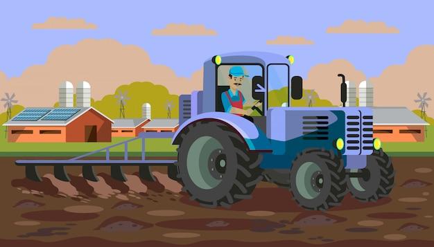 Plowing tractor in field flat vector illustration Premium Vector