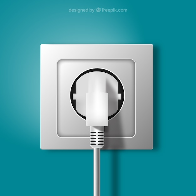 Plug and socket in realistic style Free Vector