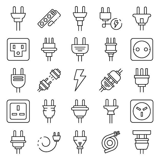 Plug wire icons set, outline style Premium Vector