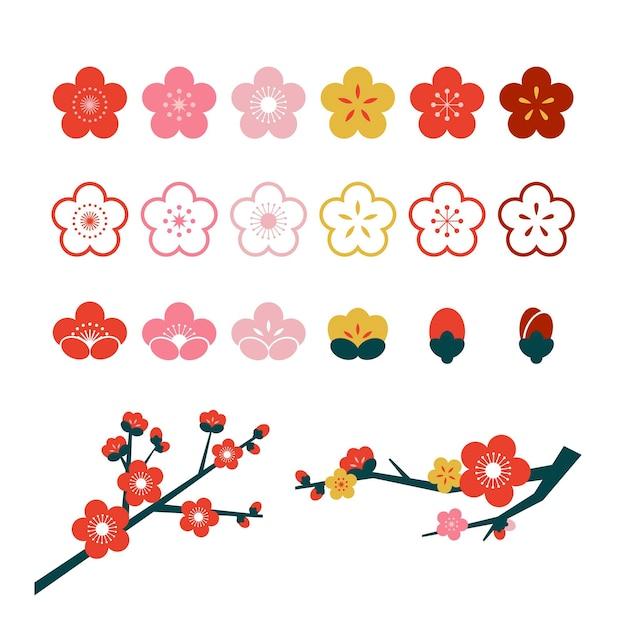 Illustrazione della raccolta del fiore del fiore della prugna Vettore gratuito