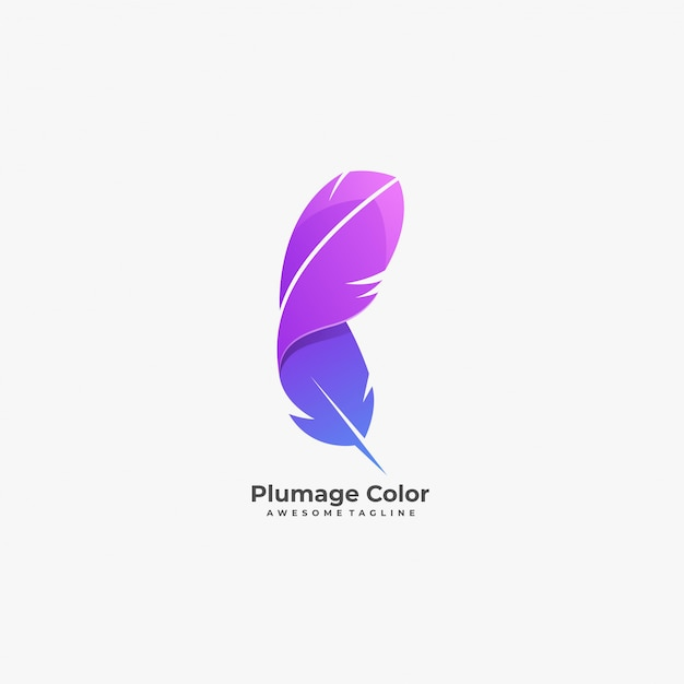 Plumage color illustration   logo. Premium Vector