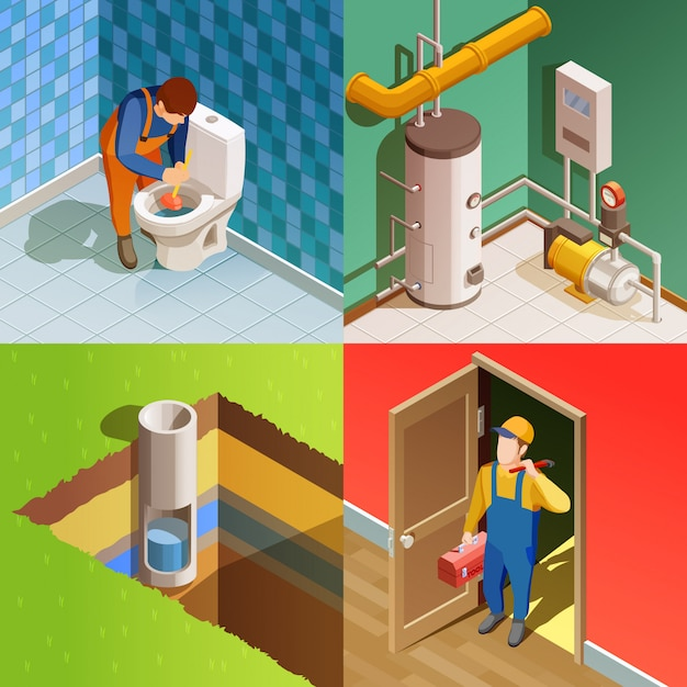 Plumber 4 colorful isometric icons square Free Vector