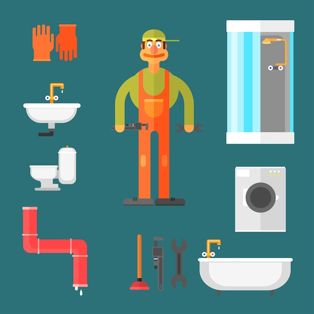 Plumber and equipment Premium Vector