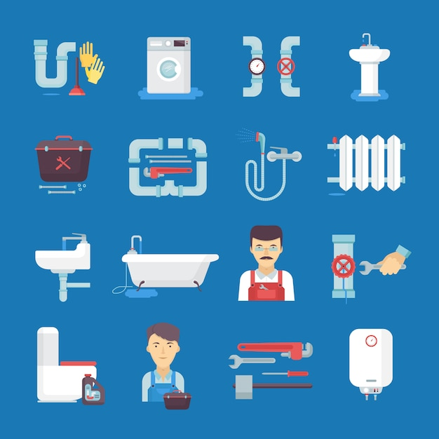 Plumber flat icons collection with toilet sink water heater. Free Vector
