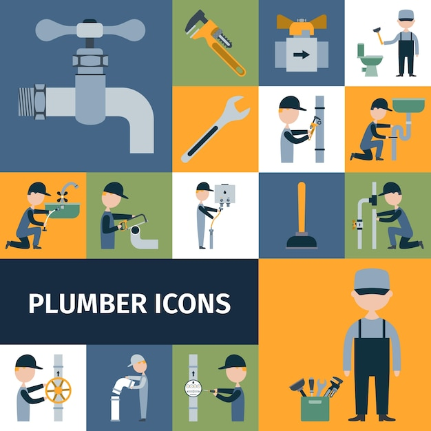 Plumber icons set Free Vector