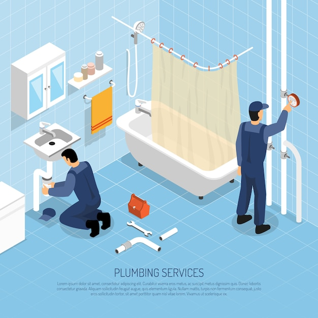 Plumber isometric illustration Free Vector