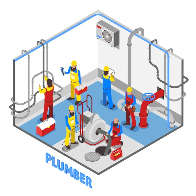 Plumber isometric people composition Free Vector