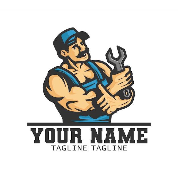 Сантехник носит гаечный ключ на руке. логотип. иллюстрация Premium векторы
