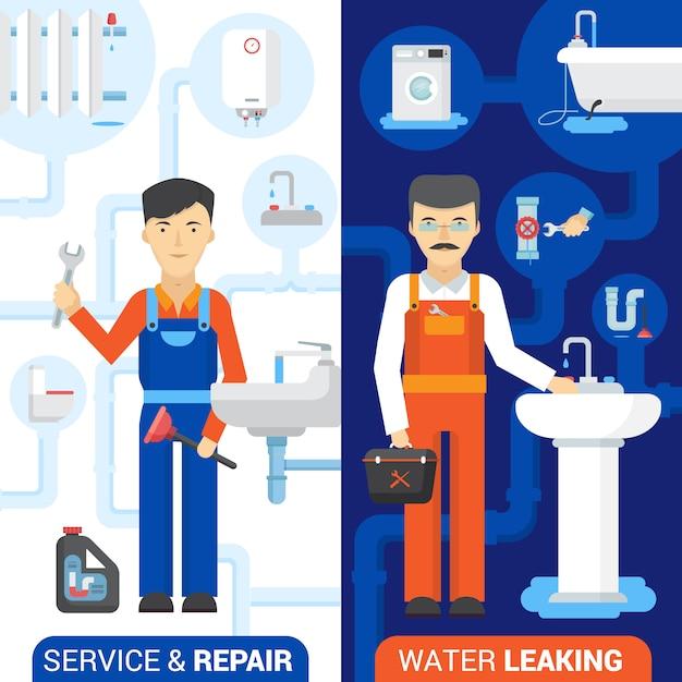 Plumber repair service banner Free Vector
