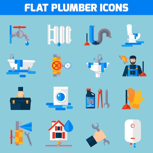 Plumber service flat icons set Free Vector