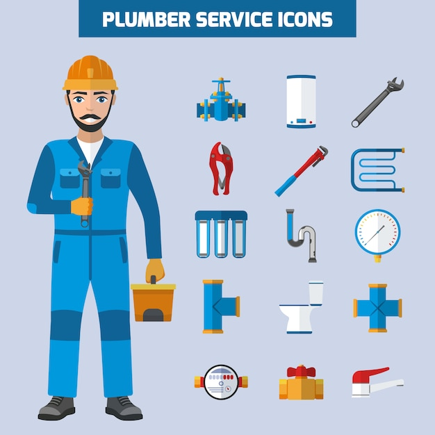 Plumber service icon set Free Vector