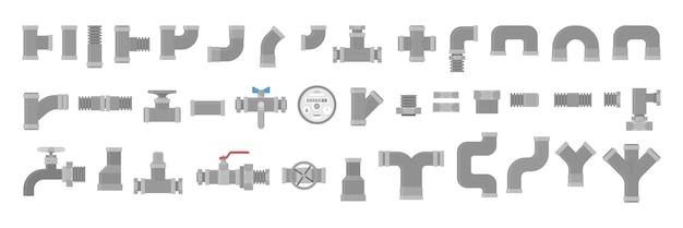 Набор сантехников, сбор труб. сантехническая промышленность. желтый элемент трубопровода, промышленные технологии. иллюстрация в стиле Premium векторы