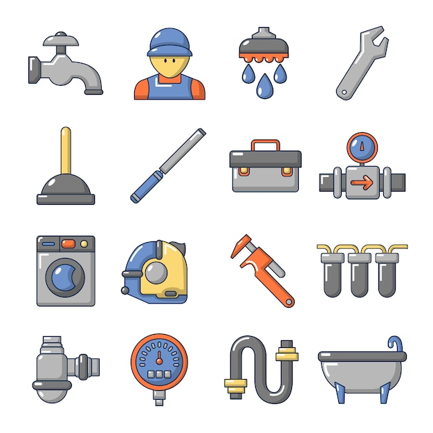 Plumber symbols icons set Premium Vector