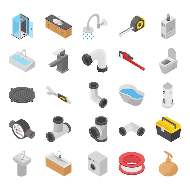 Plumber, toilet, bath shower isometric icons Premium Vector