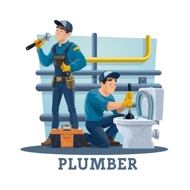 プランジャー付きの便器の詰まりを取り除き、パイプの漏れを修理する配管工 Premiumベクター