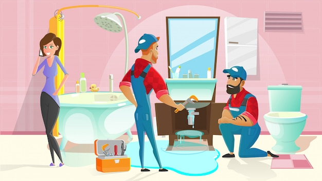 Plumbers stopping water leaking in bathroom Premium Vector