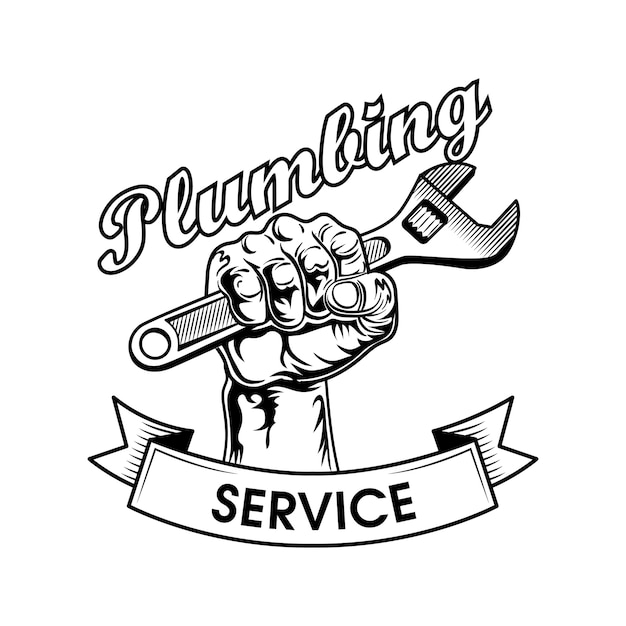 Plumbers tools vector illustration. human fist clenching adjustable wrench, power gesture and service text. plumbing or job concept logo Free Vector