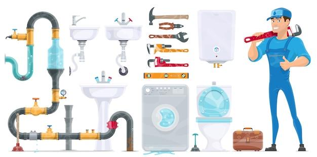 Plumbing elements collection Premium Vector