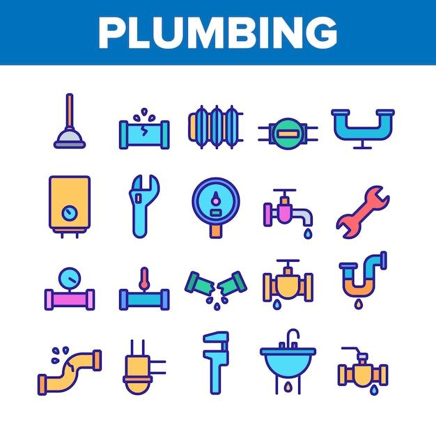 Plumbing fixtures icons set Premium Vector
