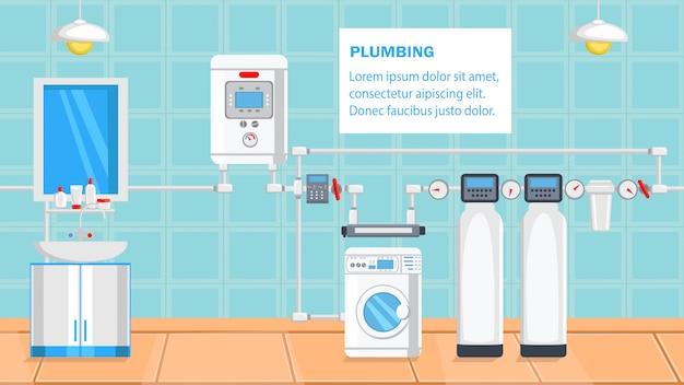 Plumbing flat design vector illustration. Premium Vector