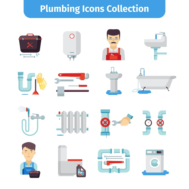 Plumbing flat icons collection Free Vector