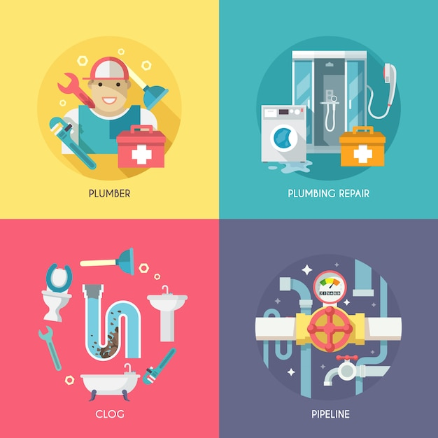 Plumbing icons composition flat Free Vector