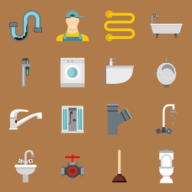 Plumbing icons set in flat style Premium Vector