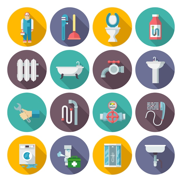 Plumbing icons set Free Vector