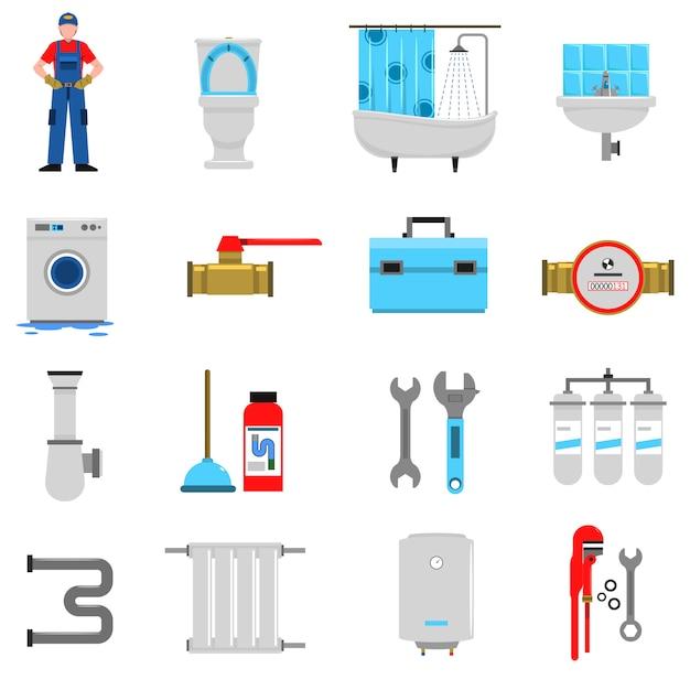 Plumbing icons set Free Vector