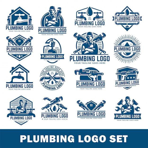 Plumbing logo template pack, with retro or vintage style, plumbing logo set. Premium Vector