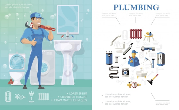 Plumbing service composition with repairman standing in bathroom with toilet washbasin washing machine mirror and colorful plumber elements Free Vector