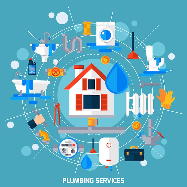 Plumbing service concept circle composition poster Free Vector