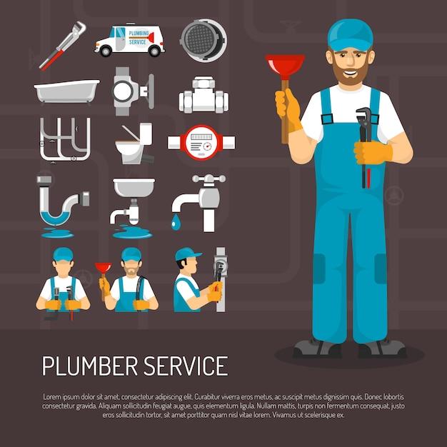 Plumbing service decorative icons set Free Vector
