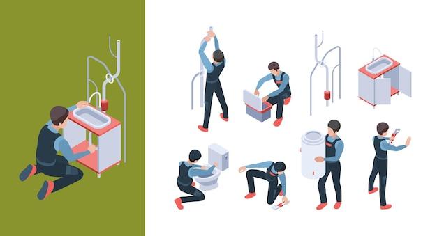 配管サービス。パイプラインを設置して、浴室のトイレのアイソメ図を修正および修理します。 Premiumベクター
