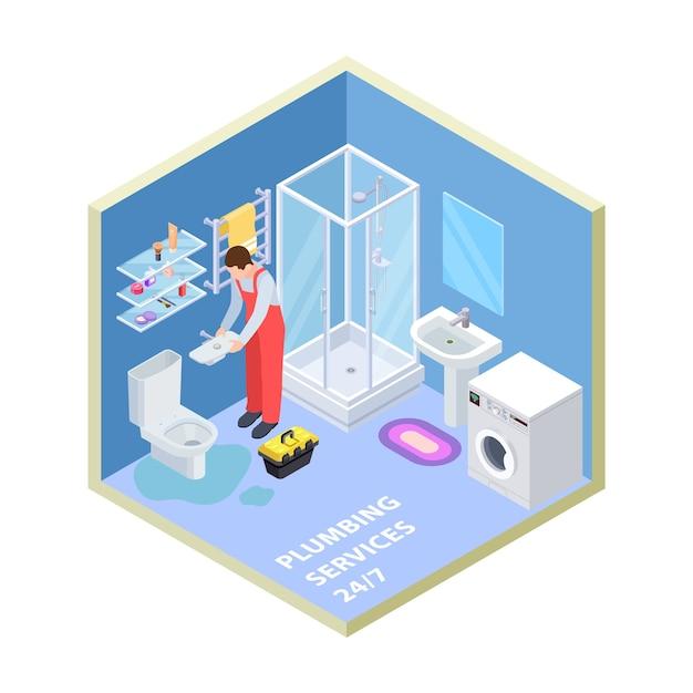 等尺性バスルームの配管サービス Premiumベクター