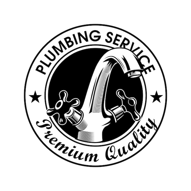 Plumbing service stamp vector illustration. faucet and premium quality text with stars. plumbing concept logo Free Vector