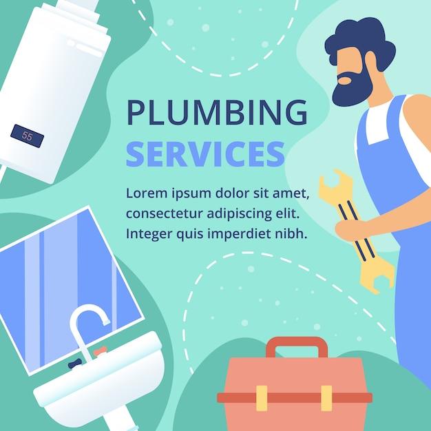 Plumbing services flat vector ad banner template Premium Vector