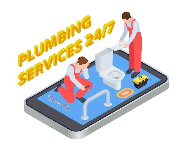 配管サービスは等尺性です。配管工のオンラインアプリのコンセプト。イラスト配管バスルーム、インストールと修理 Premiumベクター