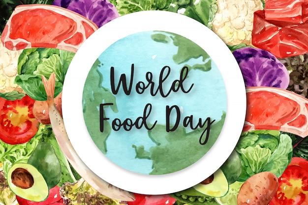 Всемирный день продовольствия рама с мойва, pock, помидор, авокадо акварельные иллюстрации. Бесплатные векторы