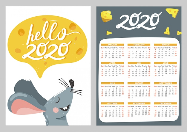 Pocket calendar with illustrations of mouse and cheese. Premium Vector