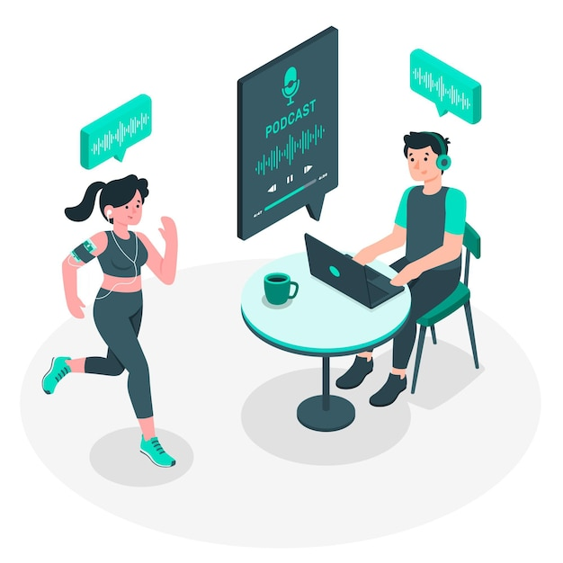 Podcast audience concept illustration Free Vector