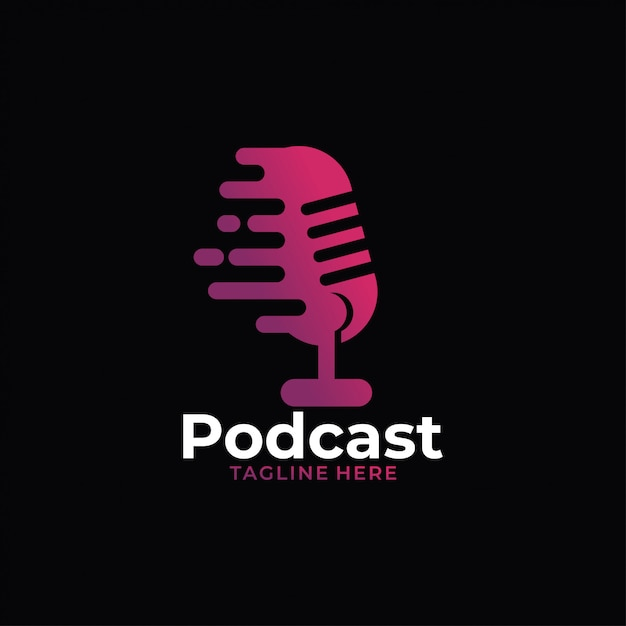 Podcast audio logo Premium Vector