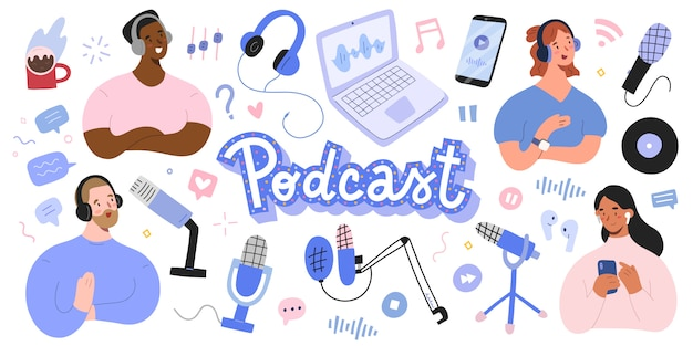 Podcast collection, host and listener, various microphones and headset Premium Vector
