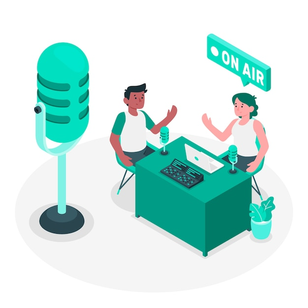 Podcast concept illustration Free Vector