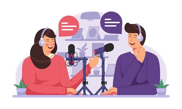 Podcast concept illustration Premium Vector