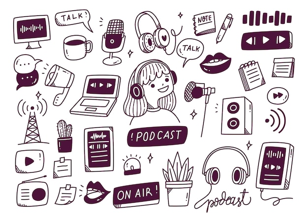 Podcast equipment in doodle style illustration Premium Vector